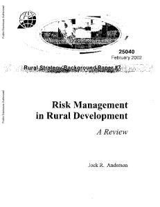 Risk Management in Rural Development