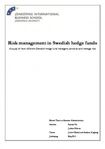 Risk management in Swedish hedge funds