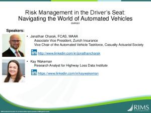 Risk Management in the Driver s Seat: Navigating the World of Automated Vehicles EMR001
