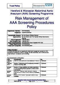 Risk Management of AAA Screening Procedures. Policy
