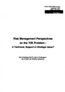 Risk Management Perspectives on the Y2K Problem -