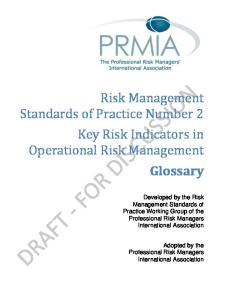 Risk Management Standards of Practice Number 2 Key Risk Indicators in Operational Risk Management Glossary