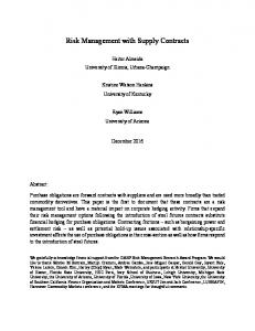 Risk Management with Supply Contracts