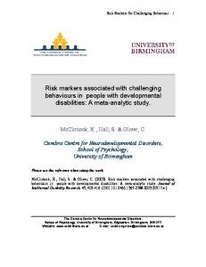 Risk markers associated with challenging behaviours in people with developmental disabilities: A meta-analytic study