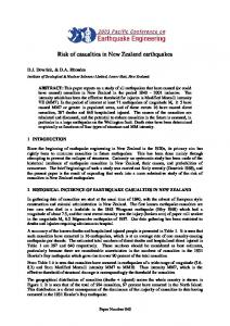 Risk of casualties in New Zealand earthquakes