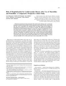 Risk of Hospitalization for Cardiovascular Disease after Use of Macrolides and Penicillins: A Comparative Prospective Cohort Study