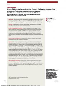 Risk of Major Adverse Cardiac Events Following Noncardiac Surgery in Patients With Coronary Stents