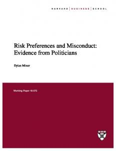 Risk Preferences and Misconduct: Evidence from Politicians