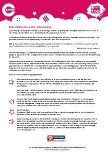 Risks children face online: Cyberbullying