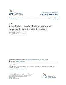 Risky Business: Russian Trade in the Ottoman Empire in the Early Nineteenth Century