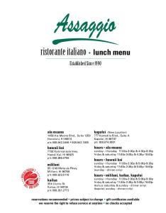 ristorante italiano lunch menu