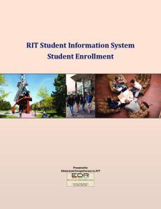 RIT Student Information System Student Enrollment