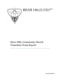 River Hills Community Church Transition Team Report