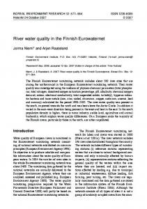 River water quality in the Finnish Eurowaternet