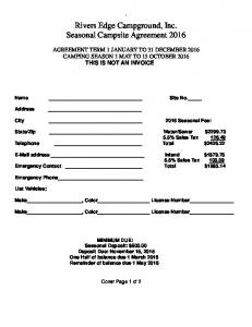 Rivers Edge Campground, Inc. Seasonal Campsite Agreement 2016