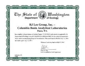 RJ Lee Group, Inc. - Columbia Basin Analytical Laboratories Pasco, WA