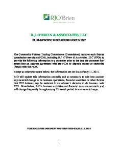 R.J. O BRIEN & ASSOCIATES, LLC FCM-SPECIFIC DISCLOSURE DOCUMENT