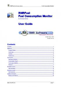RMRFuel Fuel Consumption Monitor. User Guide. Contents. RMRFuel (for Windows Mobile) Fuel Consumption Monitor. (for Windows Mobile)