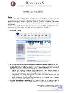 RÖNESANS TEKNOLOJİ. Önsöz. 1. Yönetişim Portalı