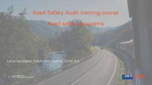 Road Safety Audit training course. Road safety programs