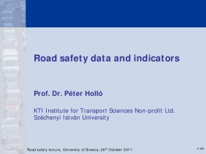 Road safety data and indicators