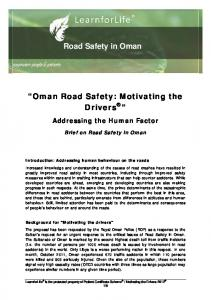 Road Safety in Oman. Oman Road Safety: Motivating the Drivers