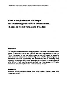 Road Safety Policies in Europe For Improving Pedestrian Environment : Lessons from France and Sweden