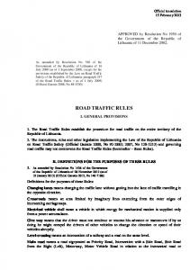 ROAD TRAFFIC RULES I. GENERAL PROVISIONS