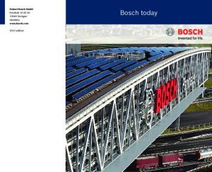 Robert Bosch GmbH Postfach Stuttgart Germany  Bosch today edition
