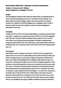 Robert Kidston ( ): a biography of a Scottish Palaeobotanist