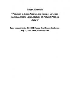 Robert Nyenhuis Populism in Latin America and Europe: A Cross- Regional, Micro-Level Analysis of Populist Political Actors