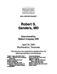Robert S. Sanders, MD