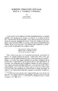 ROBERTO FERNANDEZ RETAMAR: POETA Y TEORICO LITERARIO