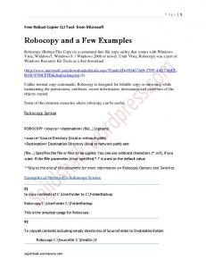 Robocopy and a Few Examples