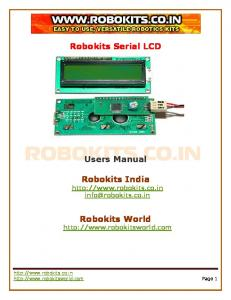 Robokits Serial LCD. Users Manual. Robokits India.  Robokits World