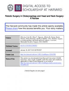 Robotic Surgery in Otolaryngology and Head and Neck Surgery: A Review