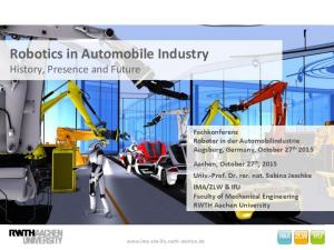 Robotics in Automobile Industry History, Presence and Future