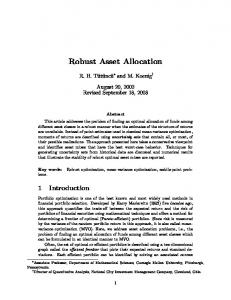 Robust Asset Allocation