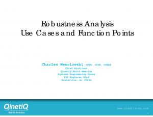 Robustness Analysis Use Cases and Function Points