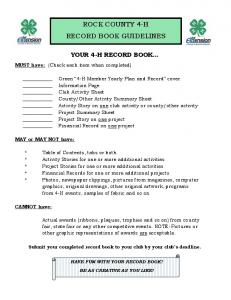 ROCK COUNTY 4-H RECORD BOOK GUIDELINES