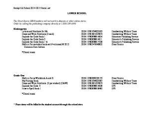 Rocky Hill School Book List LOWER SCHOOL