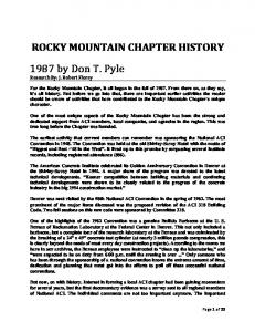 ROCKY MOUNTAIN CHAPTER HISTORY