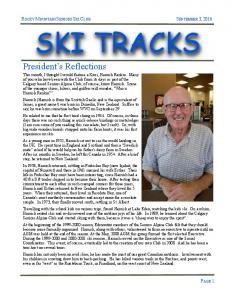 ROCKY MOUNTAIN SENIORS SKI CLUB SEPTEMBER 3, 2016 SKI TRACKS