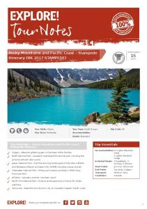 Rocky Mountains and Pacific Coast - Stampede Itinerary (RK 2017 STAMPEDE)