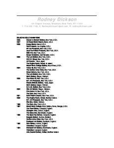 Rodney Dickson. 181 Engert Avenue, Brooklyn, New York, NY T , E. W. rodneydickson.com