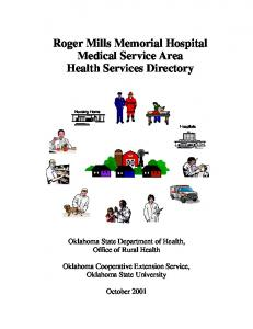 Roger Mills Memorial Hospital Medical Service Area Health Services Directory