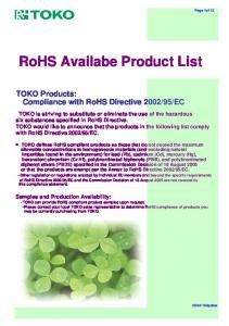 RoHS Availabe Product List