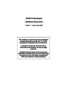RoHS Enforcement Guidance Document