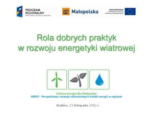 Rola dobrych praktyk w rozwoju energetyki wiatrowej