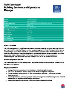 Role Description Building Services and Operations Manager